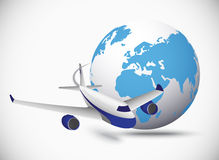 Airliner with globe in the white background Stock Photos