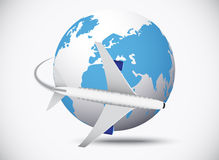 Airliner with globe in the white background Stock Photography