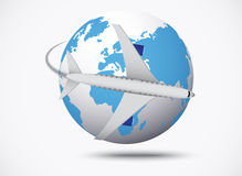 Airliner with globe in the white background Stock Photo