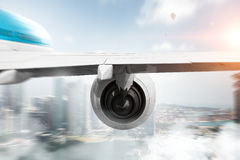 Airliner high in sky . Mixed media Stock Image