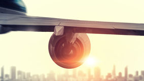 Airliner high in sky . Mixed media Royalty Free Stock Photos