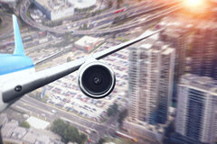 Airliner high in sky . Mixed media Stock Images