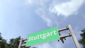 Airliner arrives in Stuttgart, Germany. 3D animation. Airliner landing in the city. 3D stock video