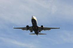 Airliner Makes its Landing Approach Stock Photo