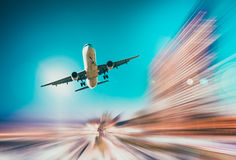 Airliner in motion in sky. Airliner in motion on background of high speed traveling in sky Stock Photos