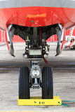 Airliner nose gear with wheel Stock Image