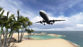 Airliner passing over palm trees Royalty Free Stock Images
