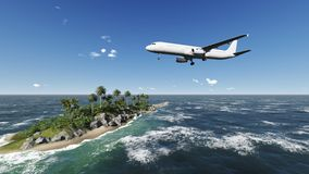 Airliner passing over palm trees Stock Image