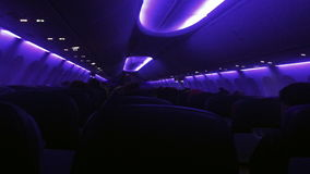 Airliner plane interior during a night flight