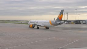 Airliner rolling to the runway. COPENHAGEN, DENMARK - MAY 11, 2018: Thomas Cook Airbus A321 taxiing at Copenhagen Kastrup Airport. Thomas Cook is a British stock video