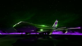 Airliner on the runway in the mountains. Night sky. Transition wireframe hologram to photorealistic render. stock video footage