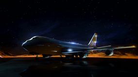 Airliner on the runway in the mountains. Night sky. Transition wireframe hologram to photorealistic render. stock video