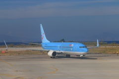 Airliner on runway royalty free stock photography
