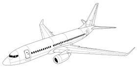 Airplane silhouette. Vector illustration. Stock Photo
