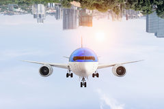 Airliner in sky. Mixed media Royalty Free Stock Photo
