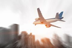 Airliner in sky. Mixed media. Airplane in sky that going down for landing. Mixed media Royalty Free Stock Photography