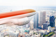 Airliner in sky. Mixed media . Mixed media. Airplane taking off and flying away in to sky. Mixed media Royalty Free Stock Photo