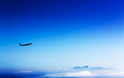 Airliner in the stratosphere Royalty Free Stock Images