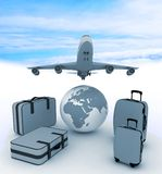 Airliner and suitcases Stock Photo