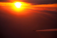 Airliner and sunset Royalty Free Stock Photos