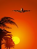 Airliner on sunset sky Royalty Free Stock Photography