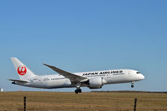 Airliner takeoff. Japan Airlines Boeing 787 taking off at Helsinki-Vantaa Airport Stock Photo
