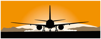 Airliner taking off at sunset Royalty Free Stock Image