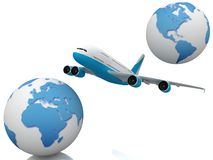Airliner with two globe Stock Image