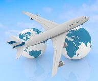 Airliner with two globe Stock Photography