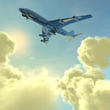 Airliner With A Clouds Stock Photo