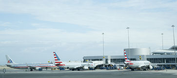 Airliners at airport. Royalty Free Stock Photo