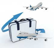 Airliners and suitcase Stock Image