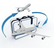 Airliners and suitcase on white Stock Photos