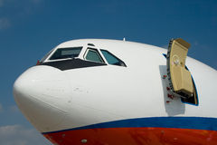 Airlines 2. A plane side with an open door Stock Photos