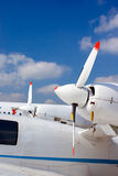 Airlines 7. Side engines of a small white business plane Royalty Free Stock Photo