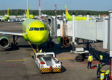 Airlines Aircraft Training S7 Airlines flight to Domodedovo Airport Stock Photo