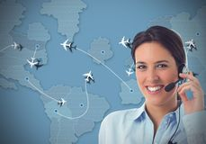 Airlines  call center. Worker in a call center for airlines Royalty Free Stock Image