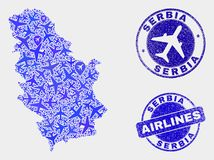 Airlines Collage Vector Serbia Map and Grunge Seals. Aviation vector Serbia map composition and scratched stamps. Abstract Serbia map is composed of blue flat royalty free illustration
