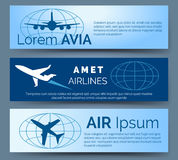 Airlines company headers set royalty free illustration