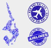 Airlines Composition Vector Koh Phi Leh Map and Grunge Stamps. Air plane vector Koh Phi Leh map mosaic and grunge watermarks. Abstract Koh Phi Leh map is royalty free illustration
