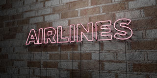 AIRLINES - Glowing Neon Sign on stonework wall - 3D rendered royalty free stock illustration Royalty Free Stock Photos