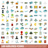 100 airlines icons set, flat style. 100 airlines icons set in flat style for any design vector illustration royalty free illustration