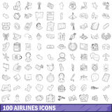 100 airlines icons set, outline style. 100 airlines icons set in outline style for any design vector illustration Royalty Free Stock Photos
