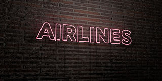 AIRLINES -Realistic Neon Sign on Brick Wall background - 3D rendered royalty free stock image Stock Photos