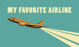 Airlines retro poster Royalty Free Stock Photo