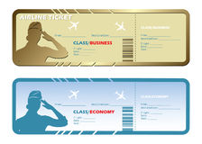 Airlines tickets. Vector illustration of airlines tickets in gold and blue color Stock Illustration