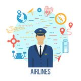 Airlines travel concept icons set with pilot. Royalty Free Stock Photography