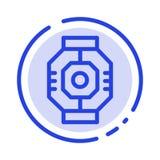 Airlock kapsel, del, enhet, blå prickig linje linje symbol för fröskida vektor illustrationer