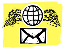 Airmail. Rough woodcut style envelope and winged globe airmail style Stock Photo