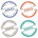 Airmail badge isolated on white background. Flat style round label with text. Circular emblem vector illustration Stock Images